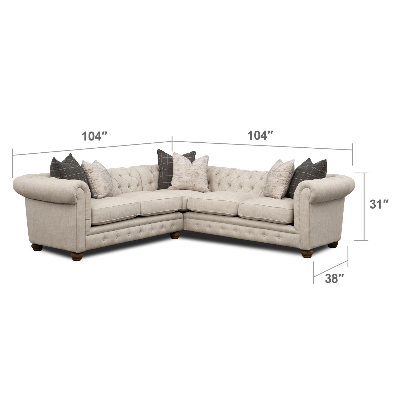 Living Room Furniture - Madeline Beige Sectional Sofa