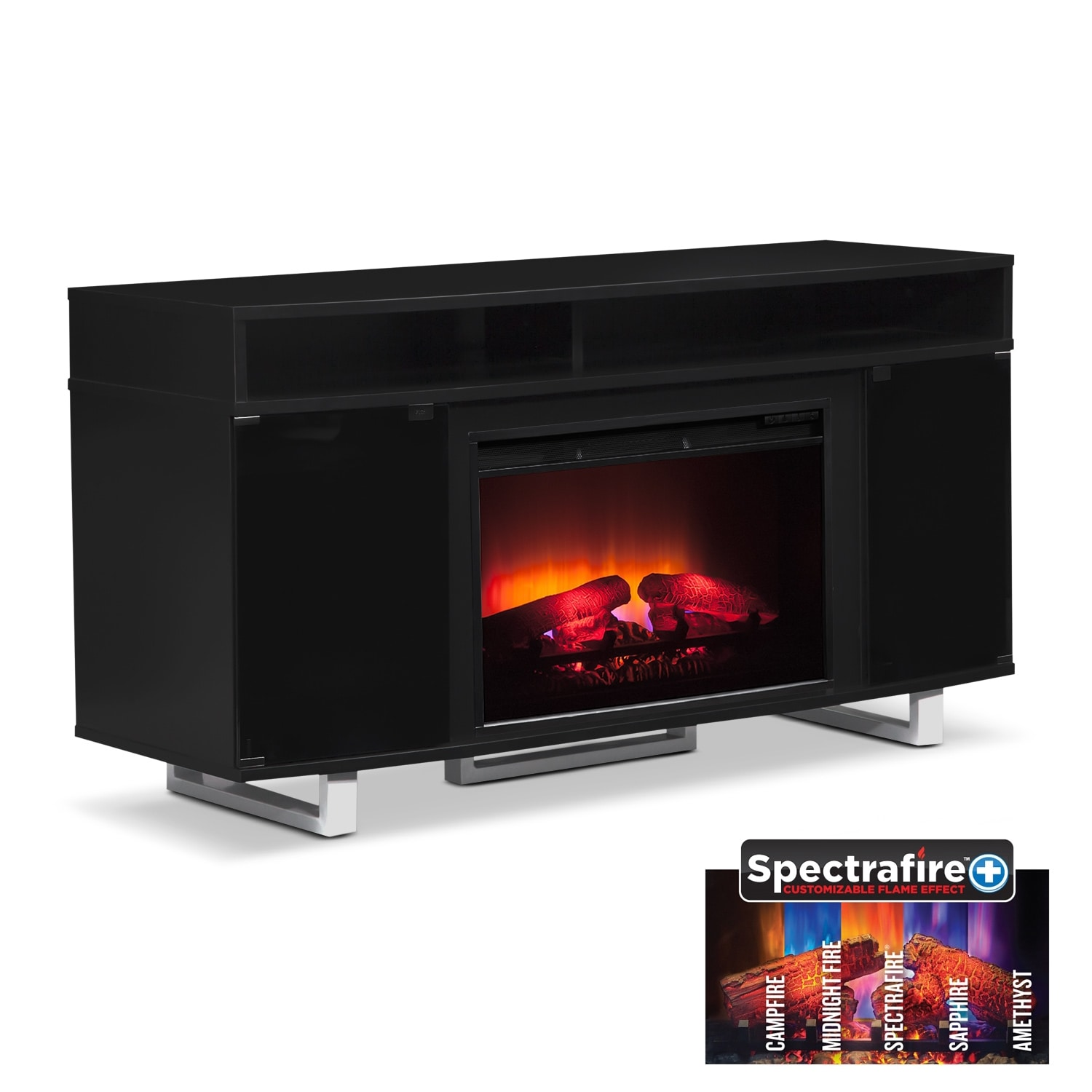"Entertainment Furniture - Pacer 56"" Traditional Fireplace TV Stand - Black"
