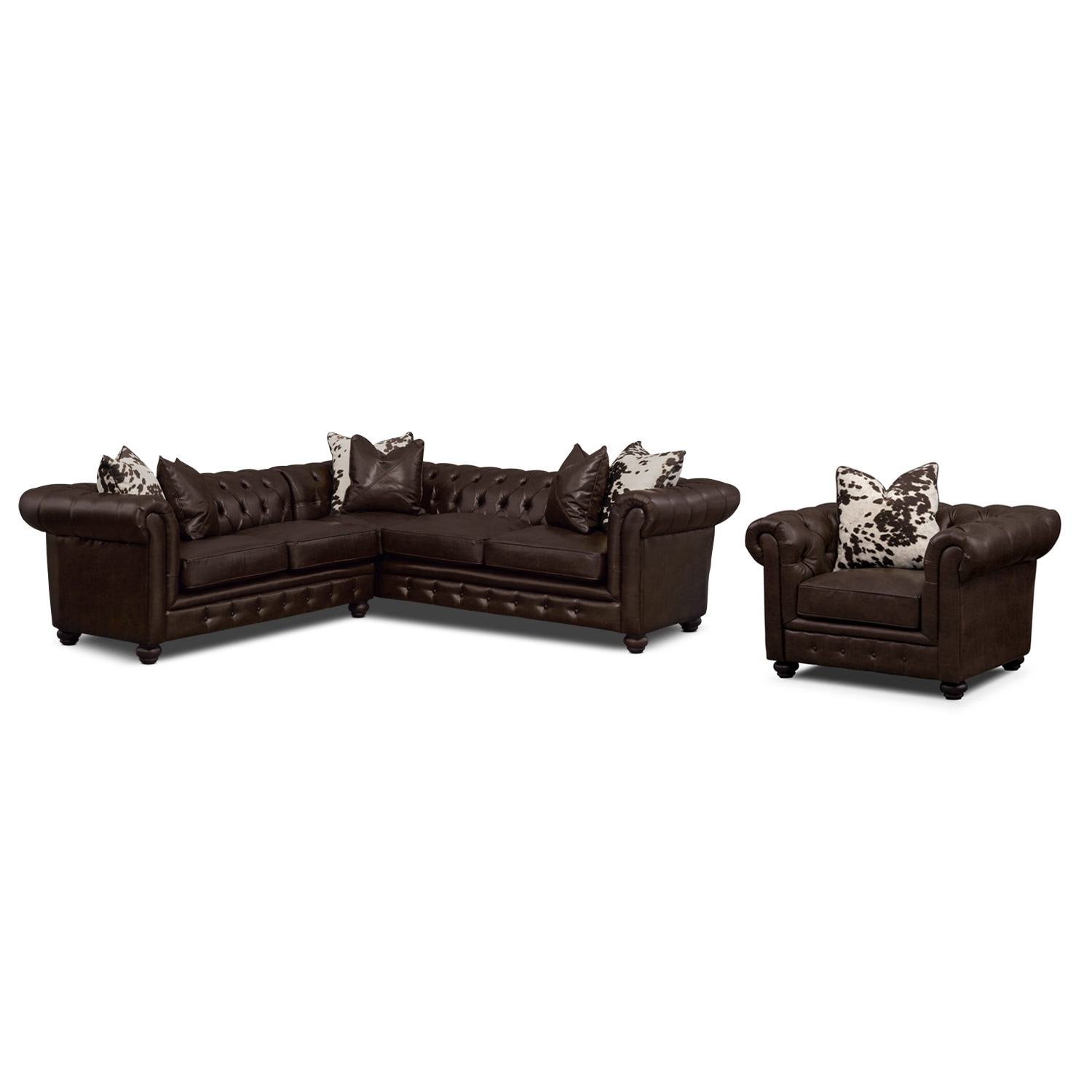 Madeline 2-Piece Sectional and Chair - Chocolate