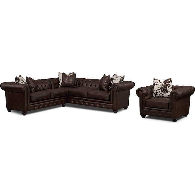 Living Room Furniture - Madeline 2-Piece Sectional and Chair - Chocolate
