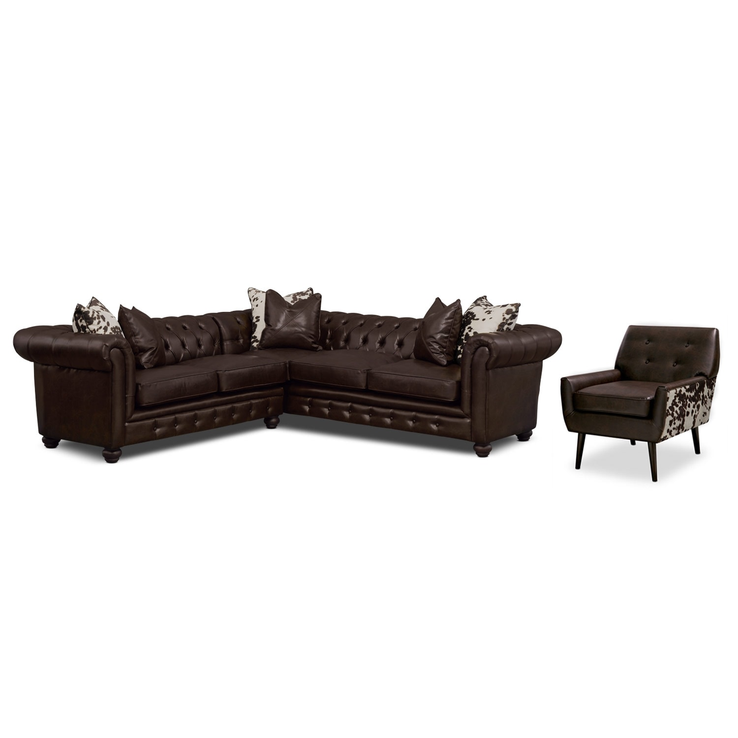 Living Room Furniture - Madeline Chocolate 2 Pc. Sectional and Accent Chair