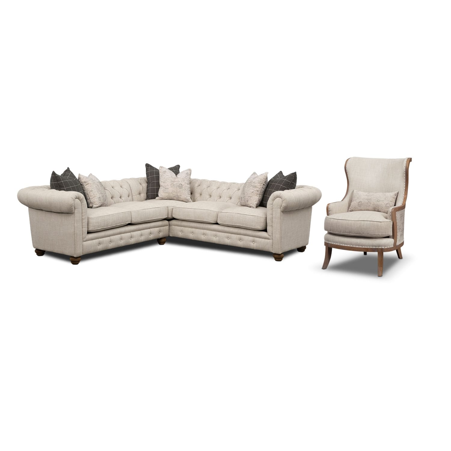 Madeline 2-Piece Sectional and Framed Accent Chair Set - Beige