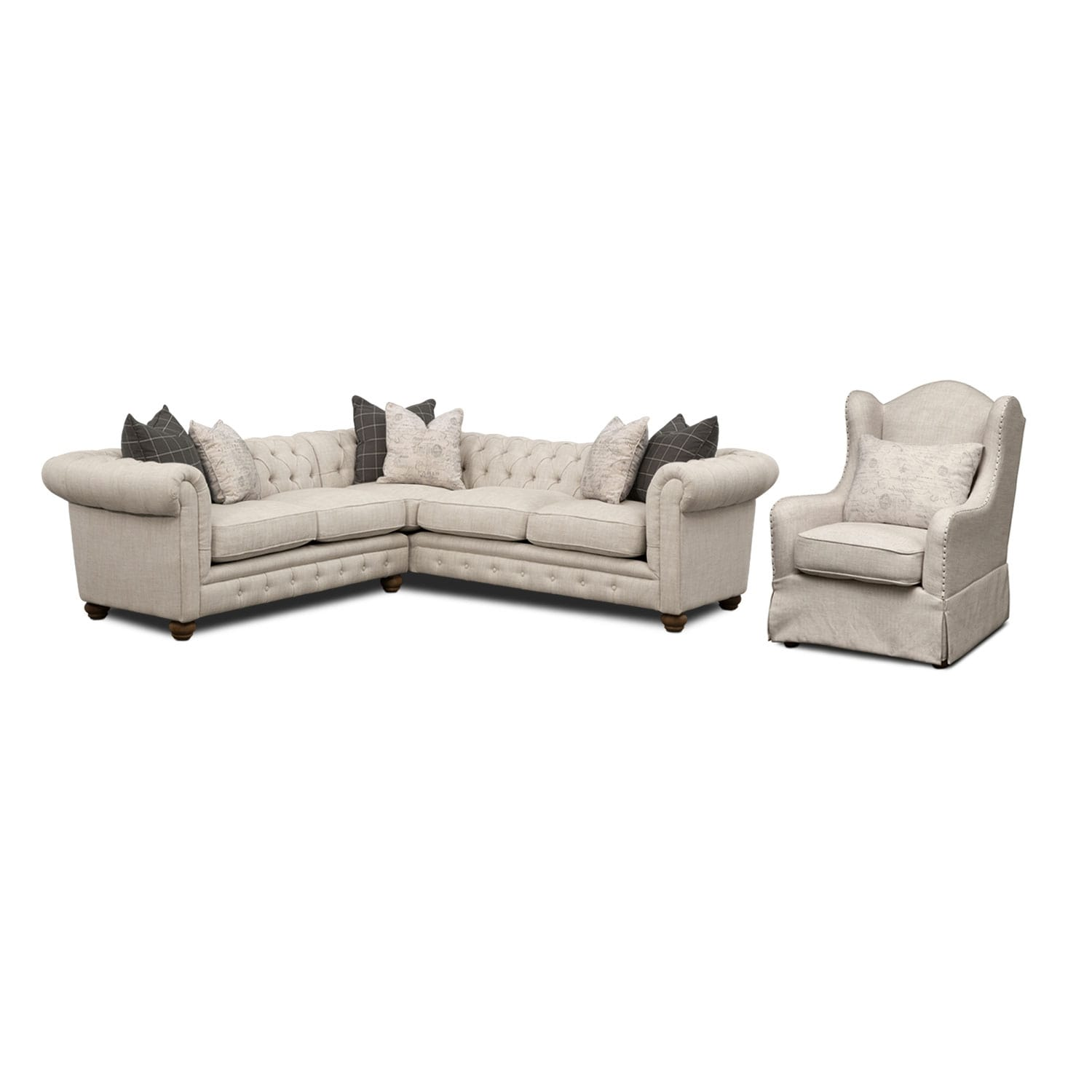 Madeline 2-Piece Sectional and Accent Chair Set - Beige