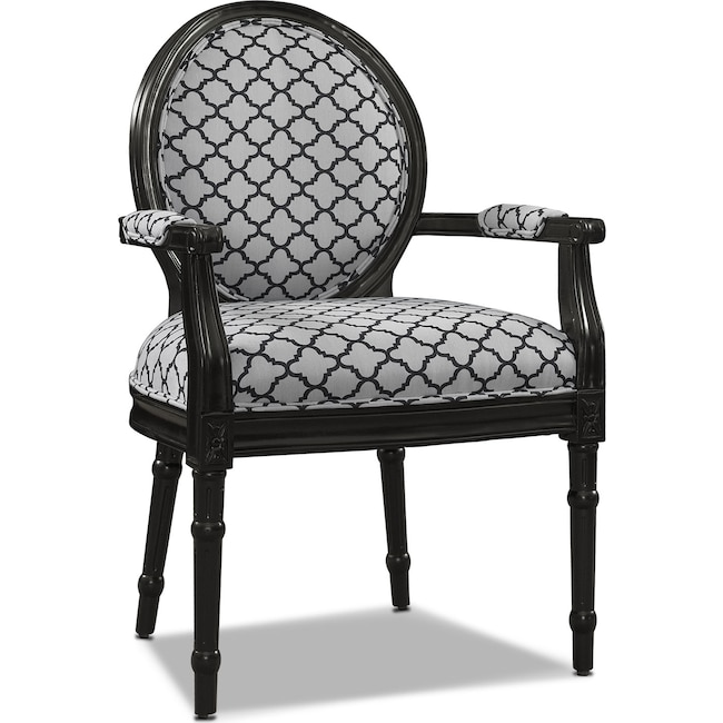 Living Room Furniture - Myra Accent Chair - Black and White
