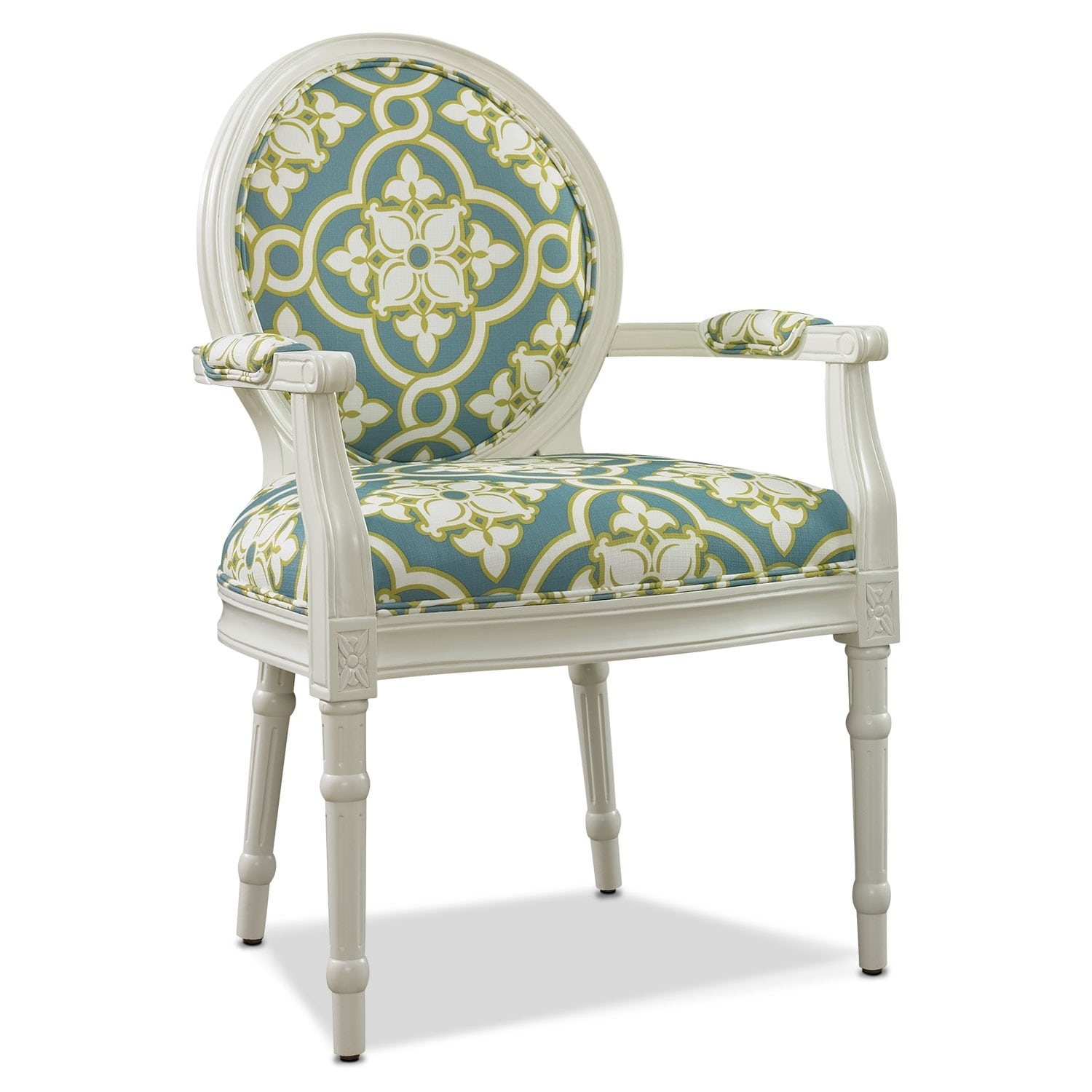 Living Room Furniture - Sable Accent Chair - White and Teal