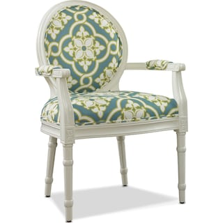 Sable Accent Chair - White and Teal
