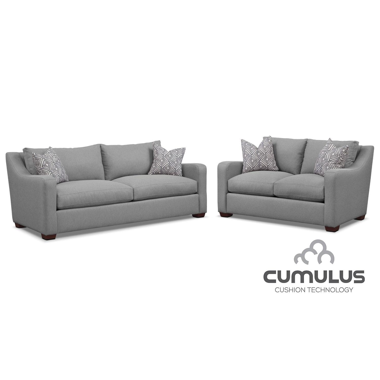 Living Room Furniture - Jules Cumulus Sofa, and Loveseat Set- Gray
