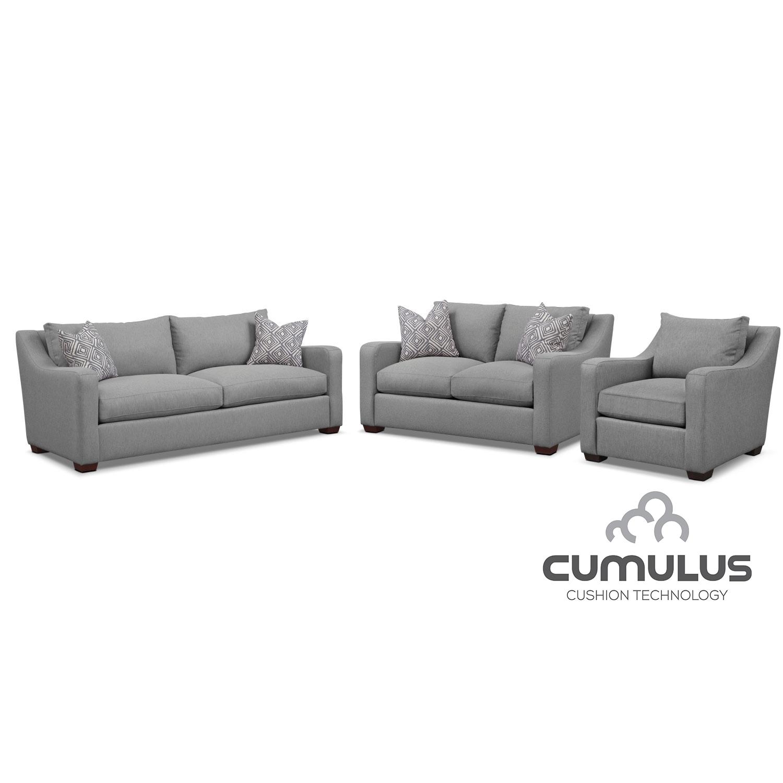 Jules Cumulus Sofa, Loveseat, and Chair Set- Gray