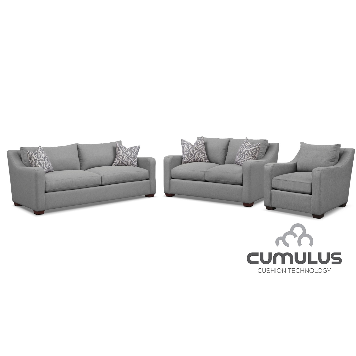 Living Room Furniture - Jules Cumulus Sofa, Loveseat, and Chair Set- Gray