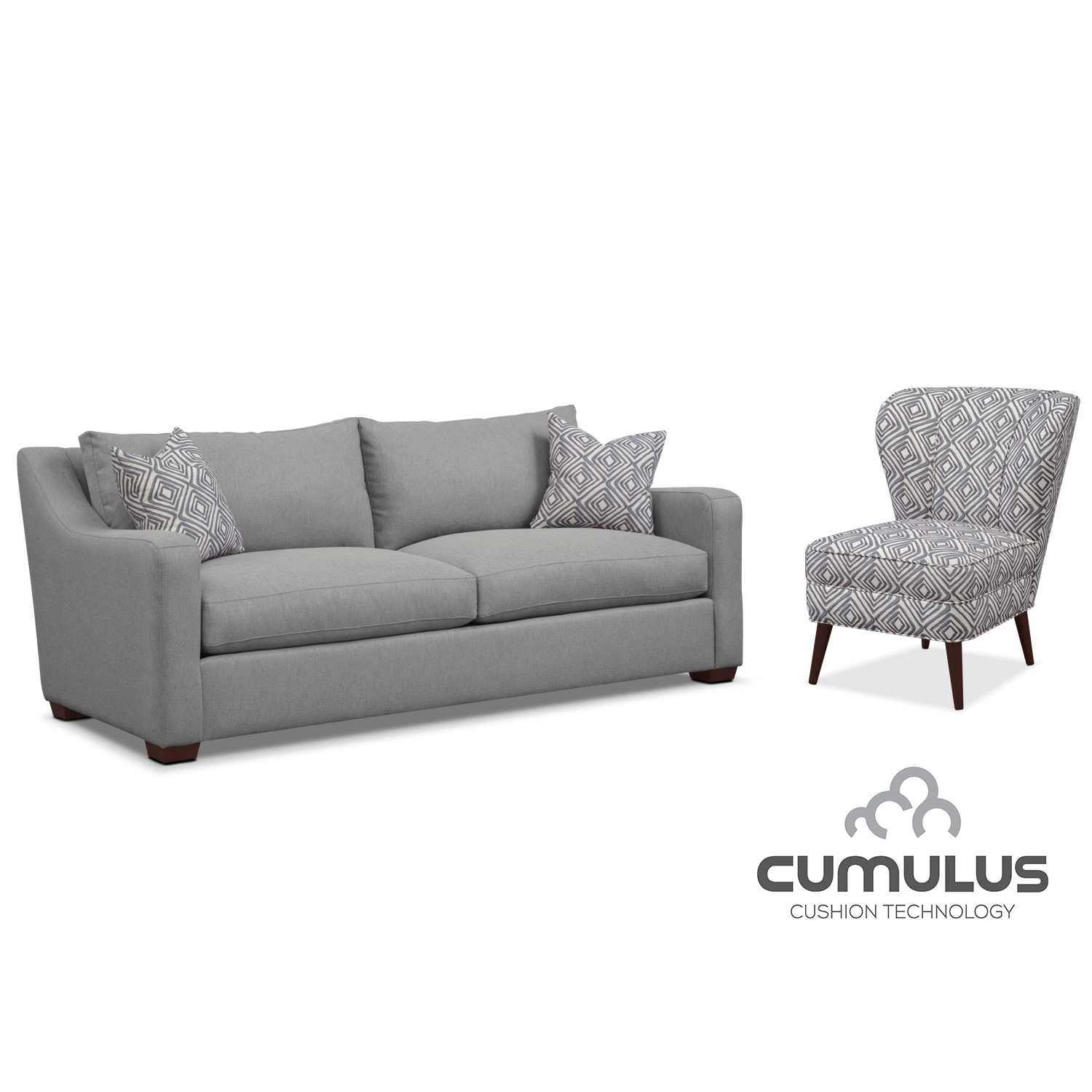 Jules Cumulus Sofa and Accent Chair Set- Gray