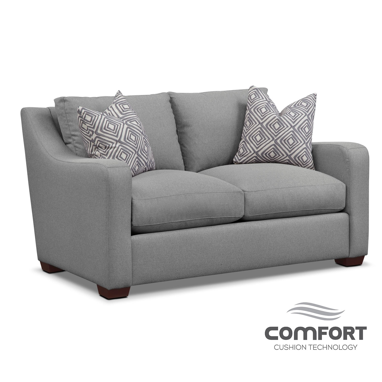 Living Room Furniture - Jules Comfort Loveseat- Gray