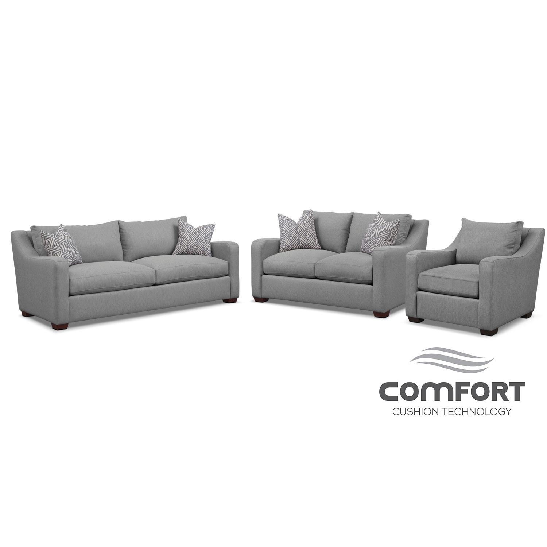 Jules Comfort Sofa, Loveseat, and Chair Set- Gray