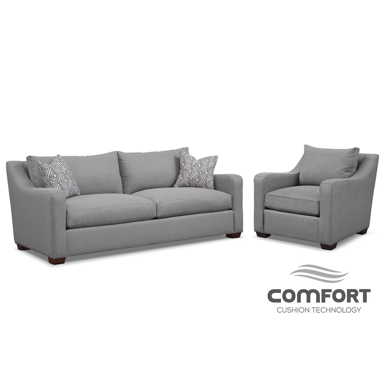 Living Room Furniture - Jules Comfort Sofa and Loveseat Set- Gray