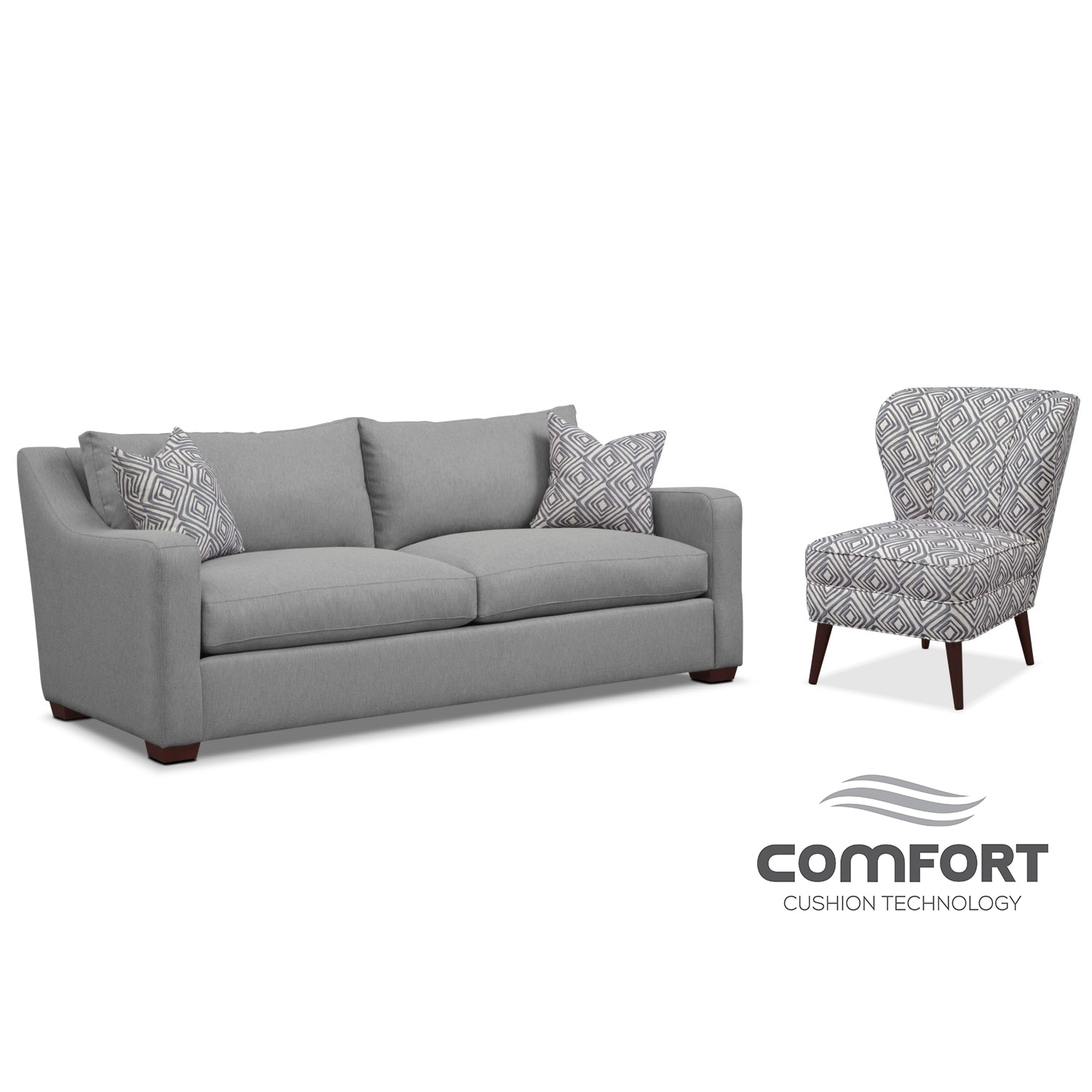 Living Room Furniture - Jules Comfort Sofa and Accent Chair Set- Gray