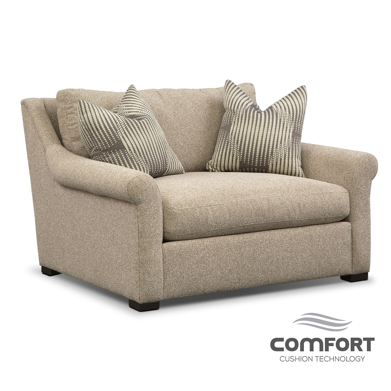 robertson comfort chair and a half beige american signature