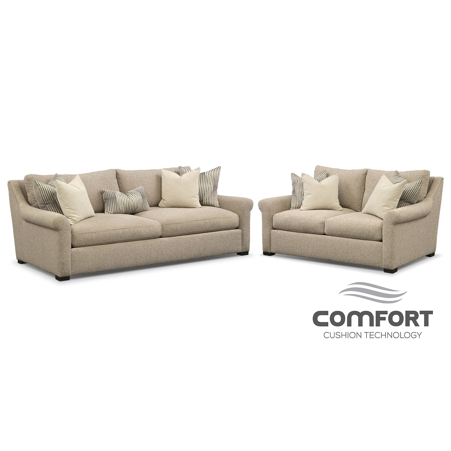 Robertson Comfort Sofa and Loveseat Set - Beige