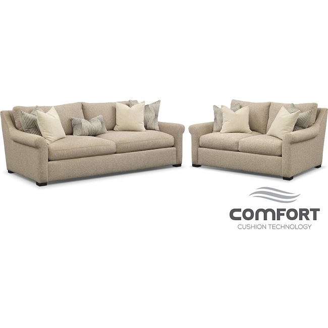Living Room Furniture - Robertson Comfort Sofa and Loveseat Set - Beige