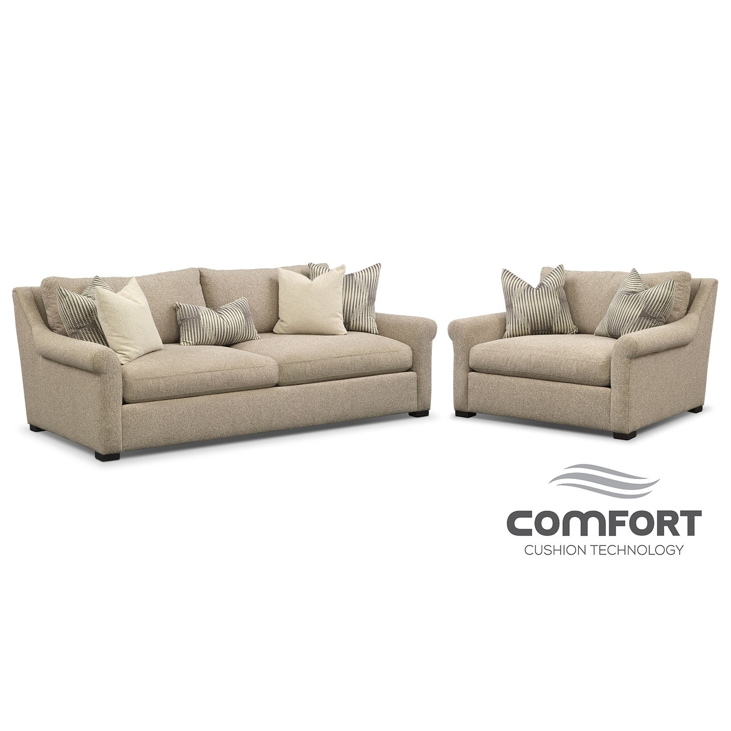 Living Room Furniture - Robertson Comfort 2 Pc. Living Room Package w/ Chair