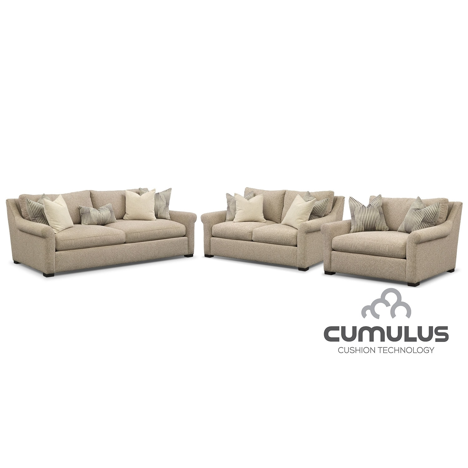 Roberston Cumulus Sofa, Loveseat and Chair and a Half Set - Beige