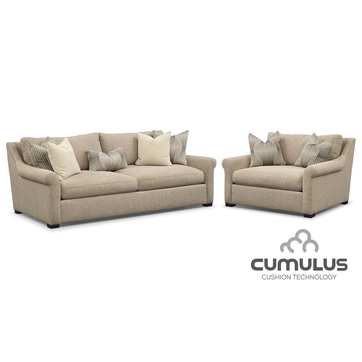 Living Room Furniture - Roberston Cumulus Sofa and Chair and a Half Set - Beige
