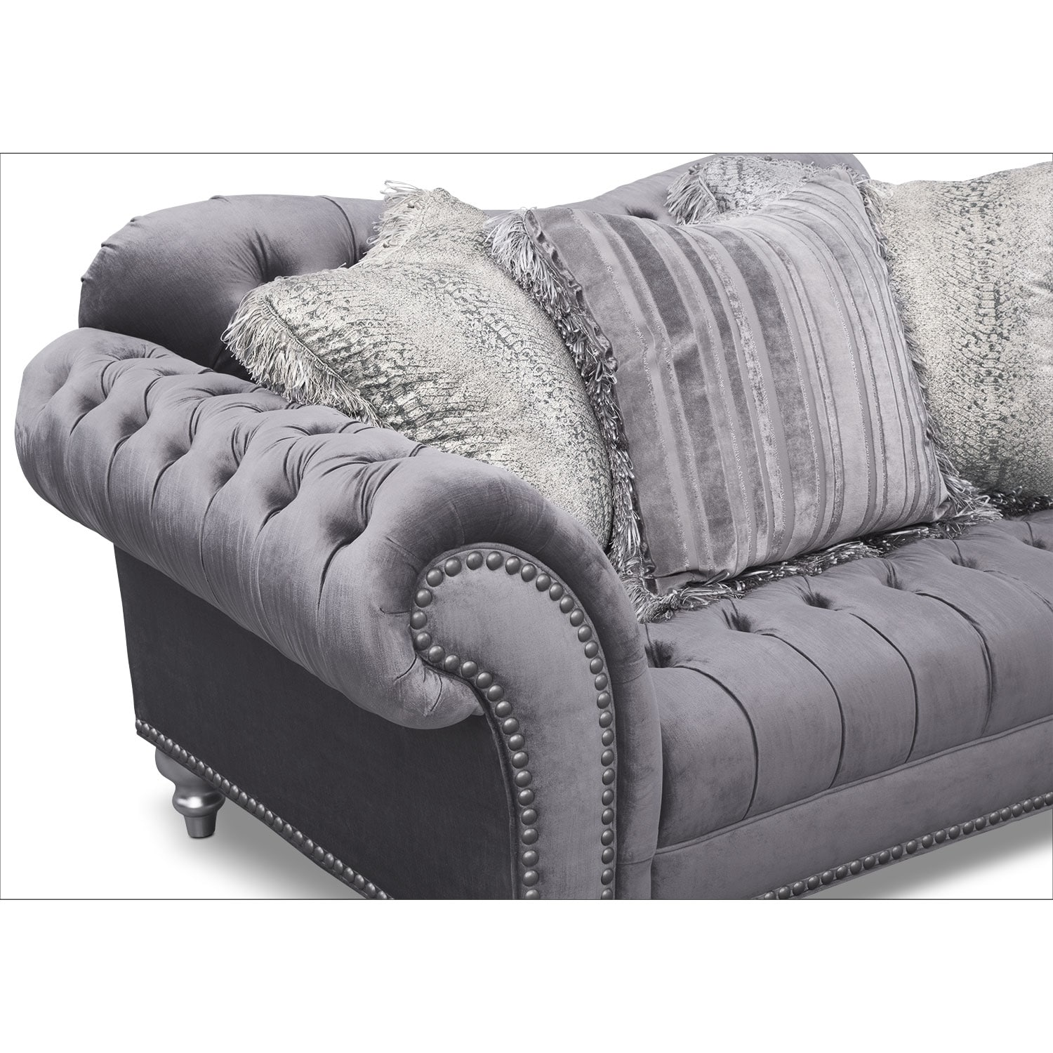 Brittney Sofa Loveseat and Chair Set Gray