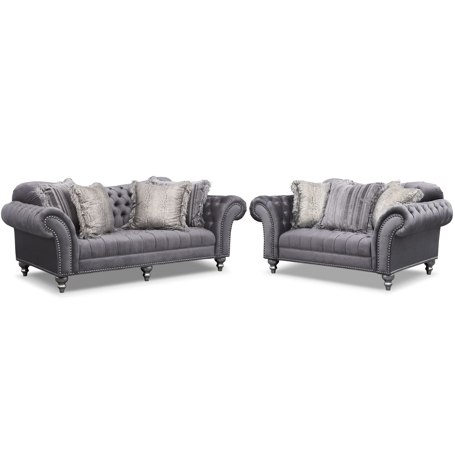 Living Room Furniture - Brittney Sofa and Loveseat Set- Gray