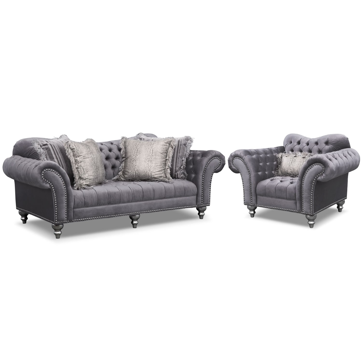 Living Room Furniture   Brittney Sofa And Chair Set   Gray