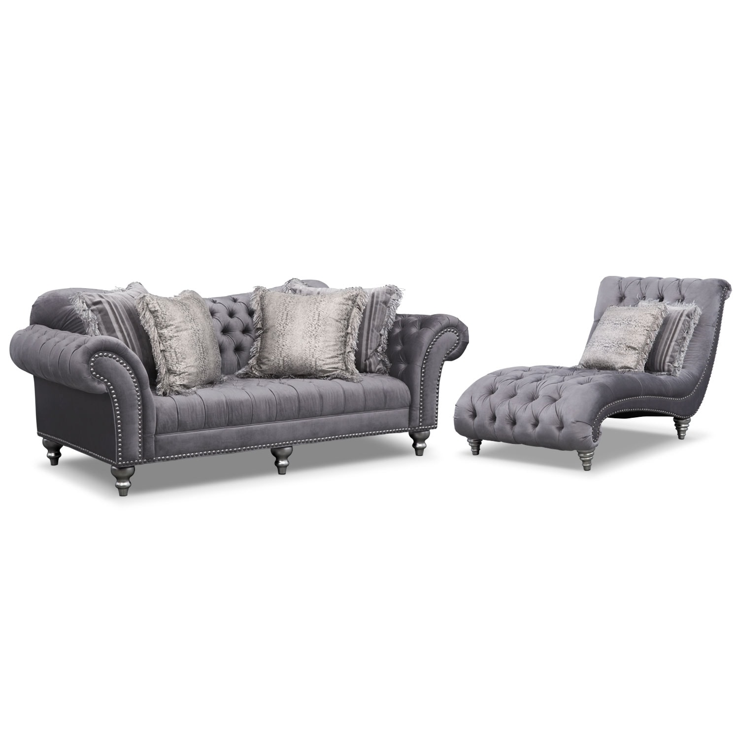 Living Room Furniture - Brittney Sofa and Chaise Set- Gray