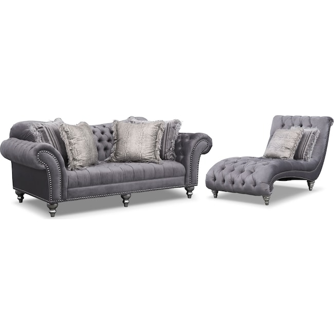Living Room Furniture - Brittney Sofa and Chaise Set - Gray
