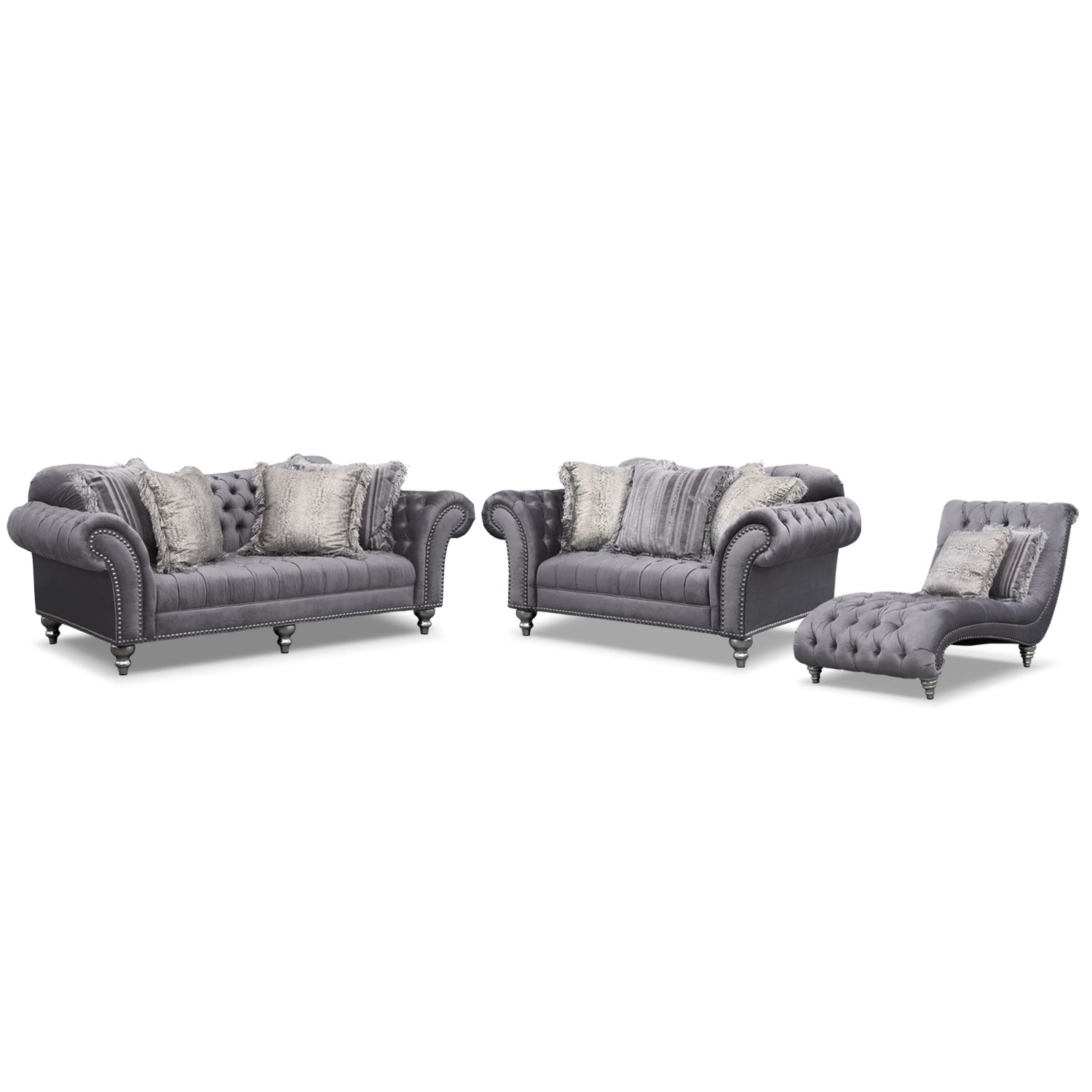 Brittney Sofa, Loveseat and Chaise Set - Gray