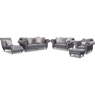 The Brittney Living Room Collection - Gray