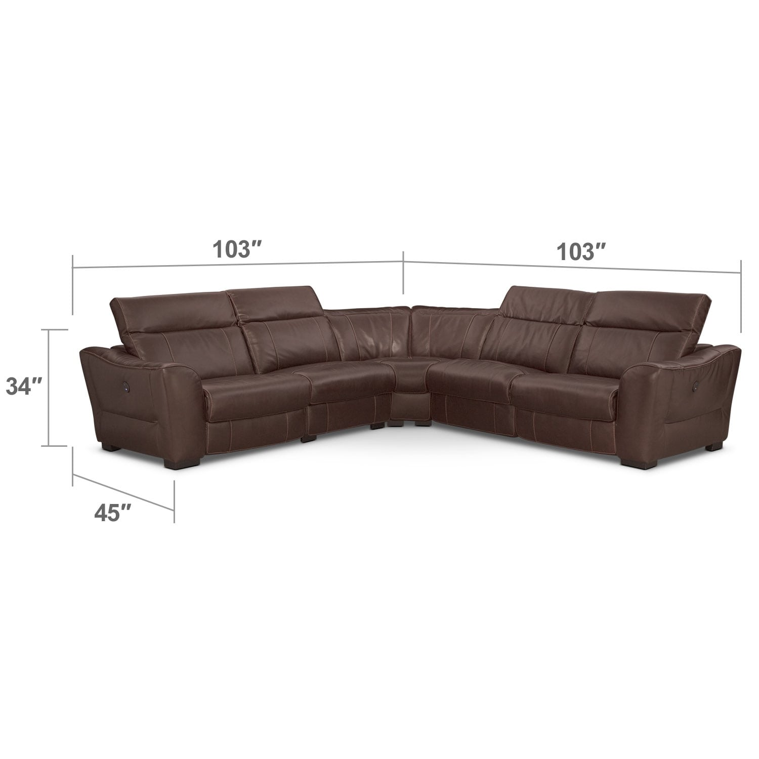 Living Room Furniture - Palisade 5-Piece, Power 3-Seat Reclining Sectional - Brown