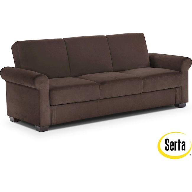 Living Room Furniture - Thomas Futon Sofa Bed with Storage - Java