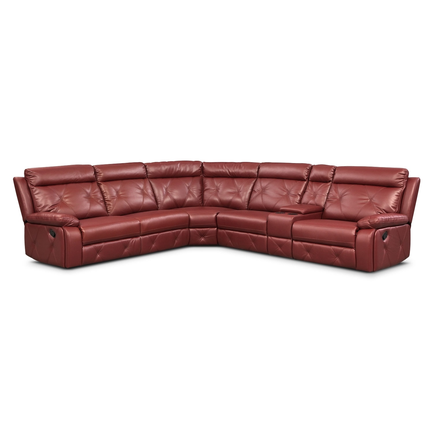 Living Room Furniture - Dante Red 6 Pc. Reclining Sectional w/ 3 Reclining Seats