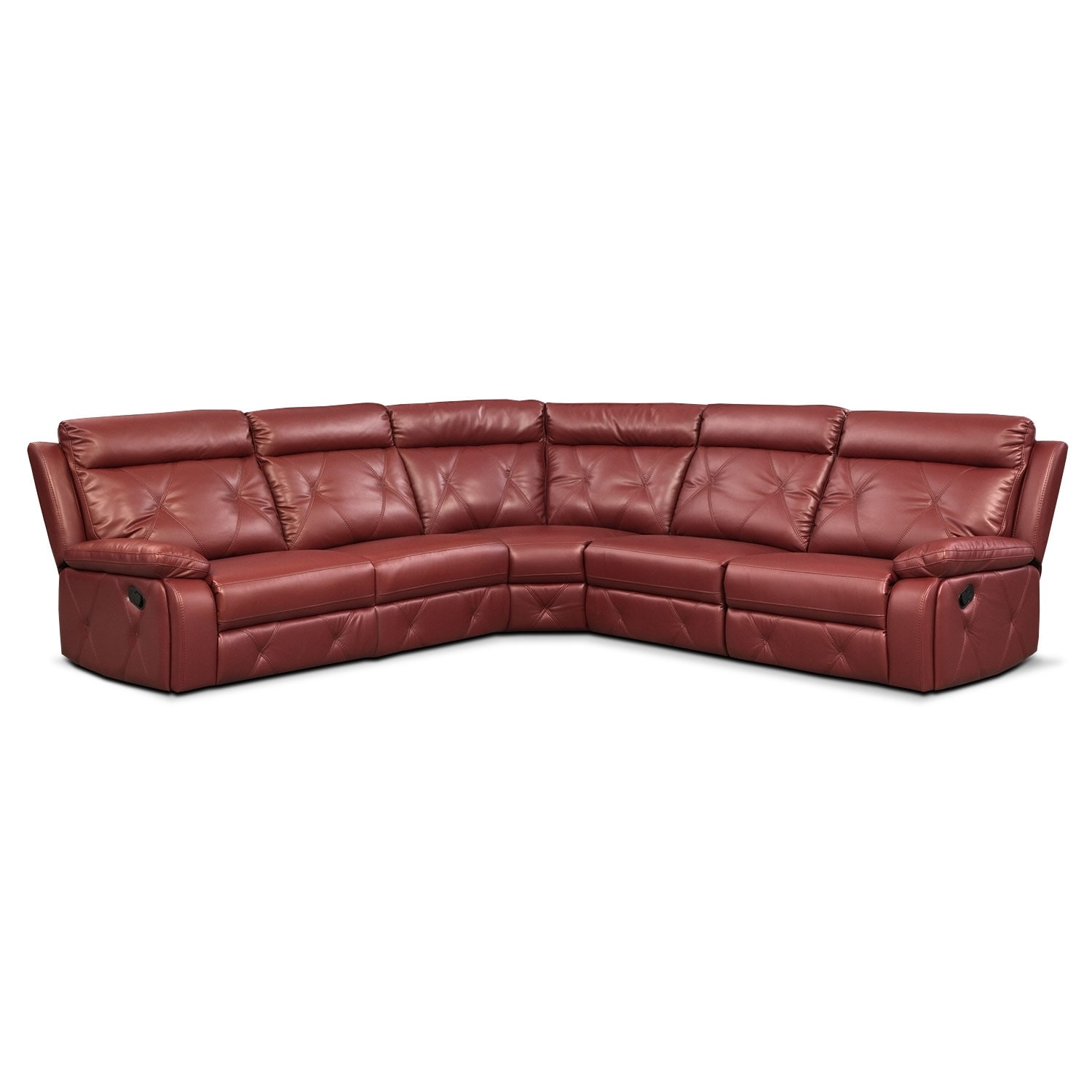 Living Room Furniture - Dante 5-Piece Reclining Sectional with 3 Reclining Seats - Red