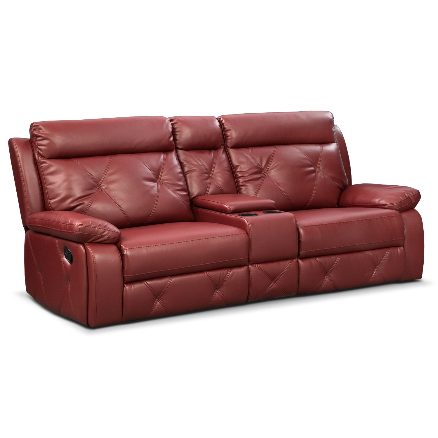 Living Room Furniture - Dante Red 3 Pc. Reclining Sofa with Console