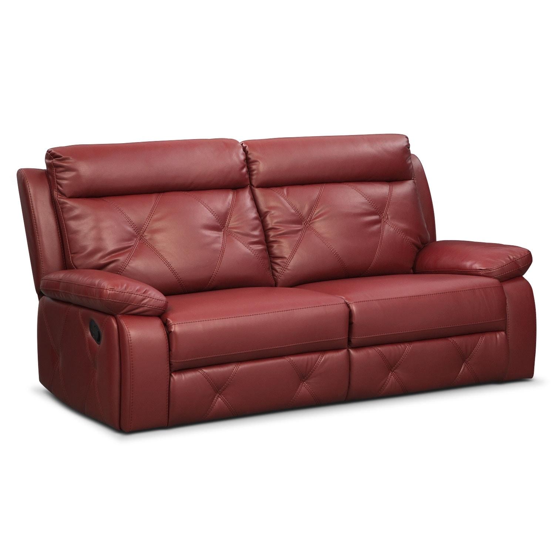 Living Room Furniture - Dante 2-Piece Reclining Sofa - Red