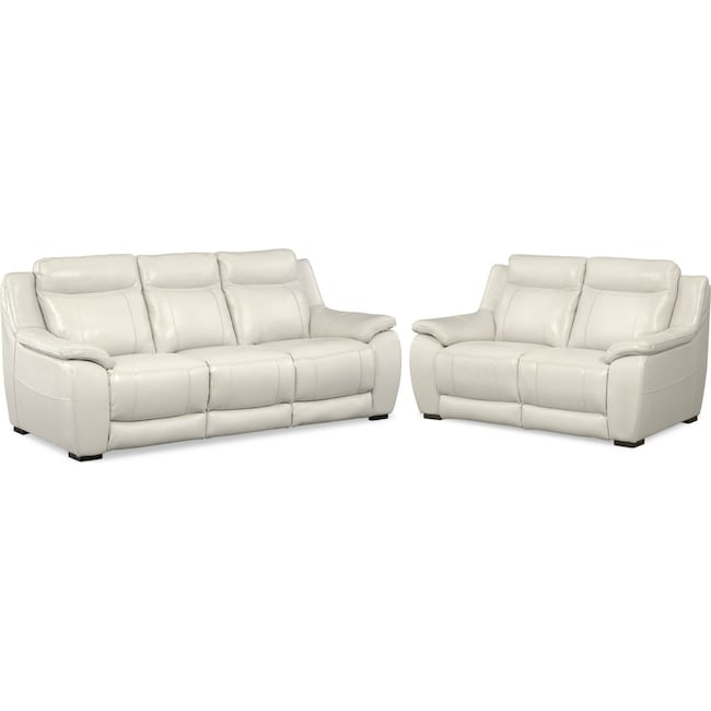 Living Room Furniture - Lido Sofa and Loveseat Set - Ivory