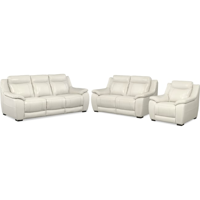 Living Room Furniture - Lido Sofa, Loveseat and Chair Set - Ivory