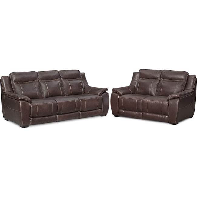 Living Room Furniture - Lido Sofa and Loveseat Set - Brown