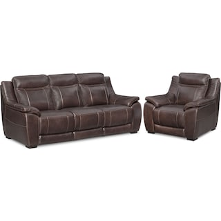Lido Sofa and Chair Set - Brown