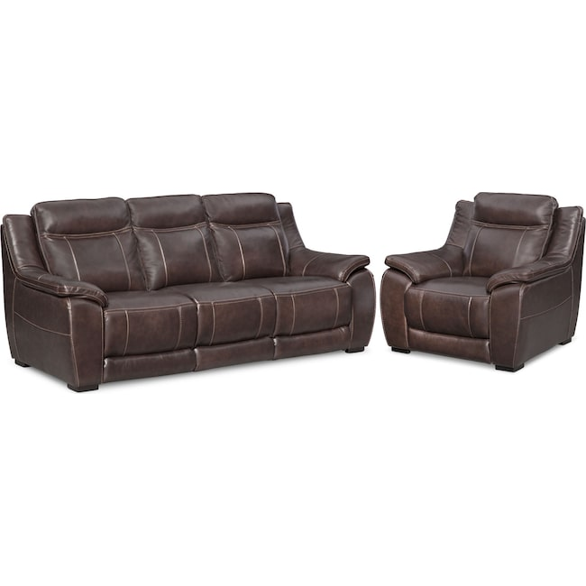 Living Room Furniture - Lido Sofa and Chair Set - Brown