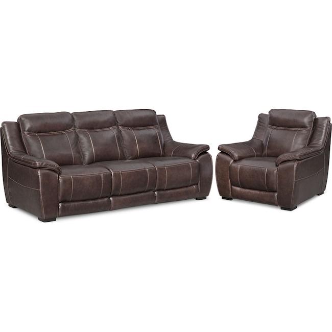 Living Room Furniture - Lido Sofa and Chair Set - Brown