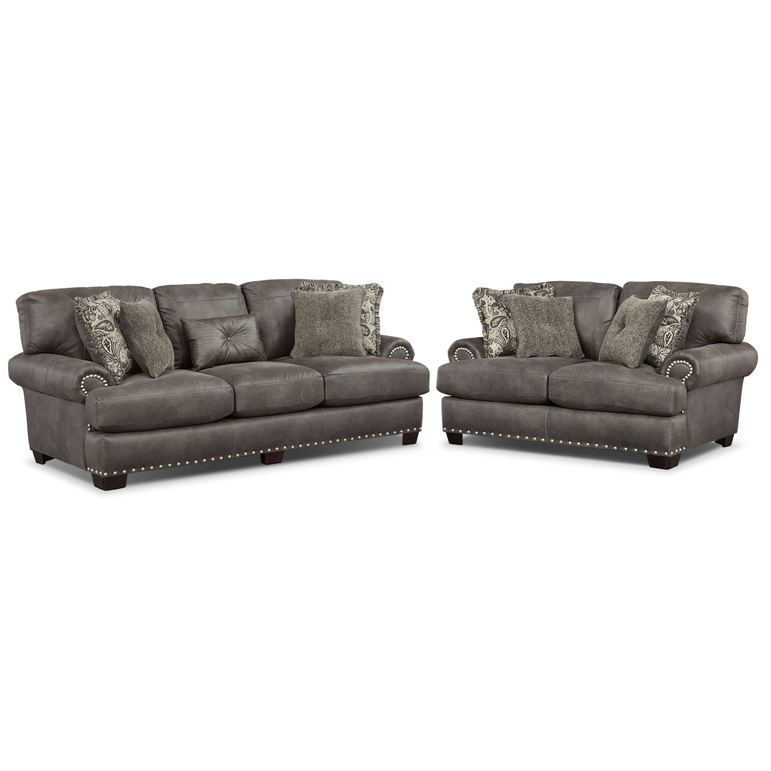 Burlington Sofa and Loveseat Set - Steel