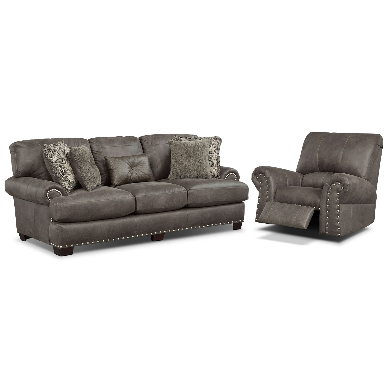 Living Room Furniture - Burlington Sofa and Recliner Set - Steel