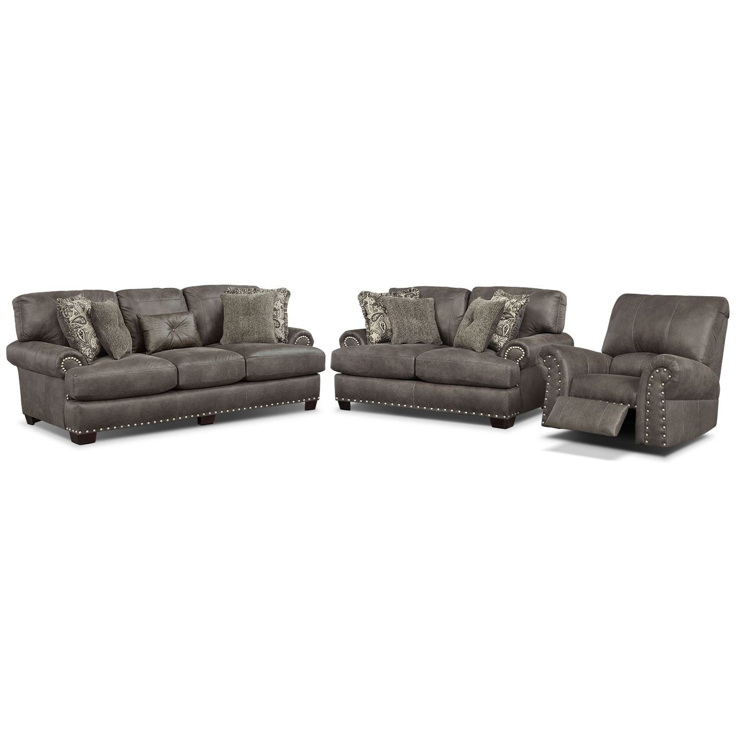 Burlington Sofa, Loveseat and Recliner Set - Steel