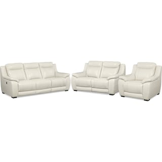 Lido Power Reclining Sofa, Reclining Loveseat and Recliner Set - Ivory