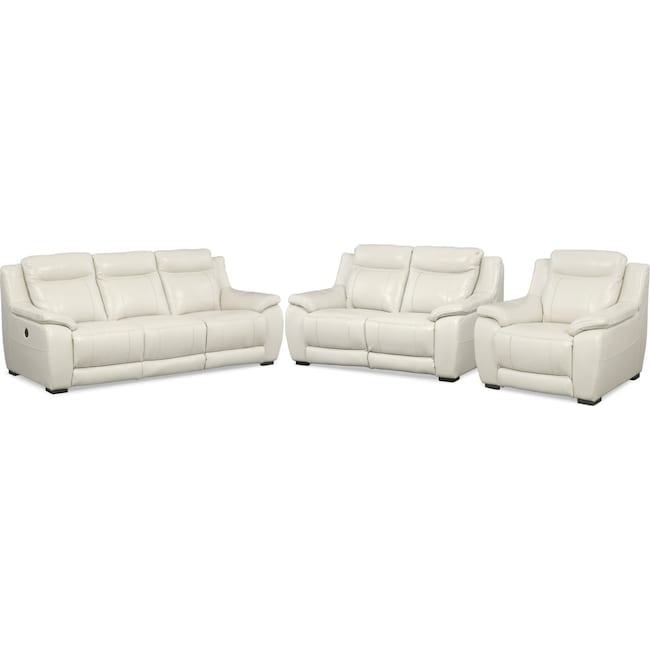 Living Room Furniture - Lido Power Reclining Sofa, Reclining Loveseat and Recliner Set - Ivory