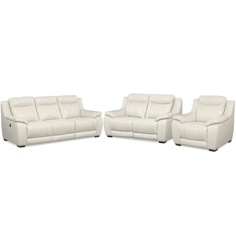 Lido Power Reclining Sofa, Reclining Loveseat And Recliner Set   Ivory
