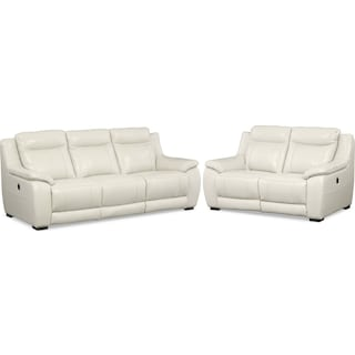 Lido Power Reclining Sofa and Reclining Loveseat Set - Ivory